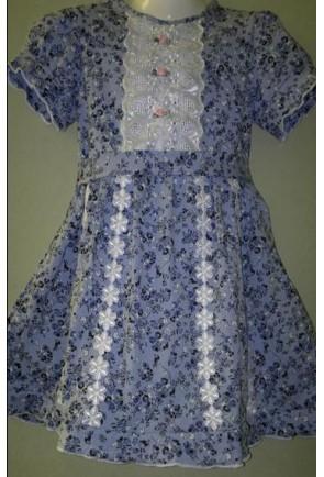 Детское платье с розами, короткий рукав
