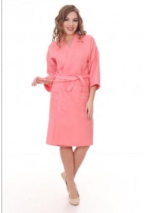 Женский запашной халат из вафельного полотна