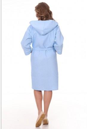 Женский запашной халат из вафельного полотна с капюшоном