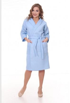 Женский запашной вафельный халат с капюшоном