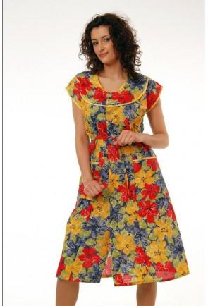 Женский халат с круглой кокеткой удлиненный