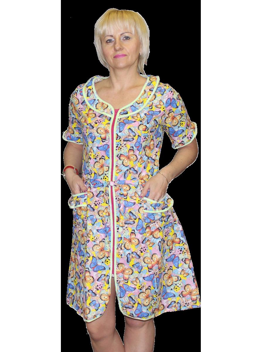 Укороченный женский халат на молнии с воланами