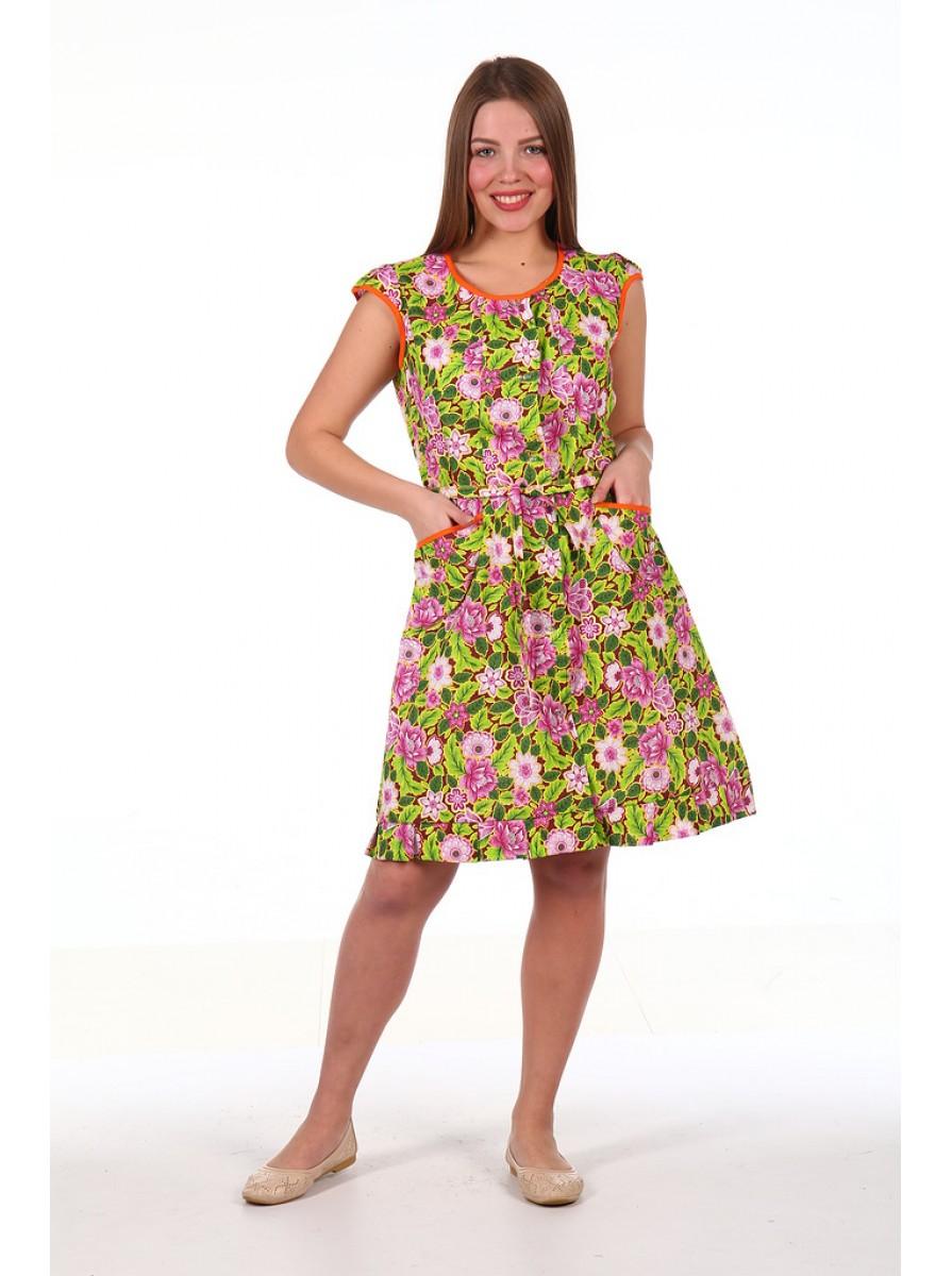 Женский домашний халат-туника с оборкой