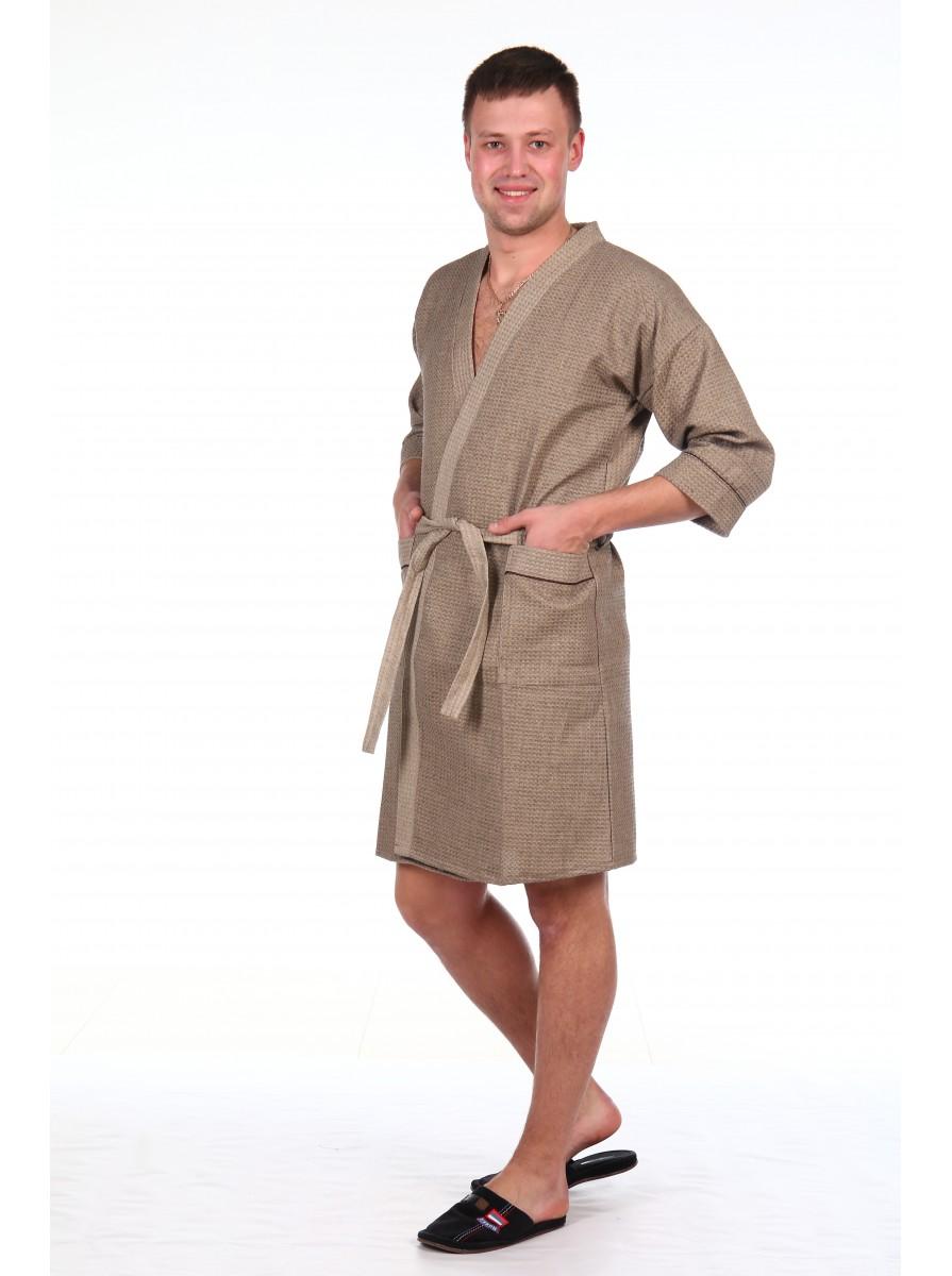 Мужской халат из вафельного полотна