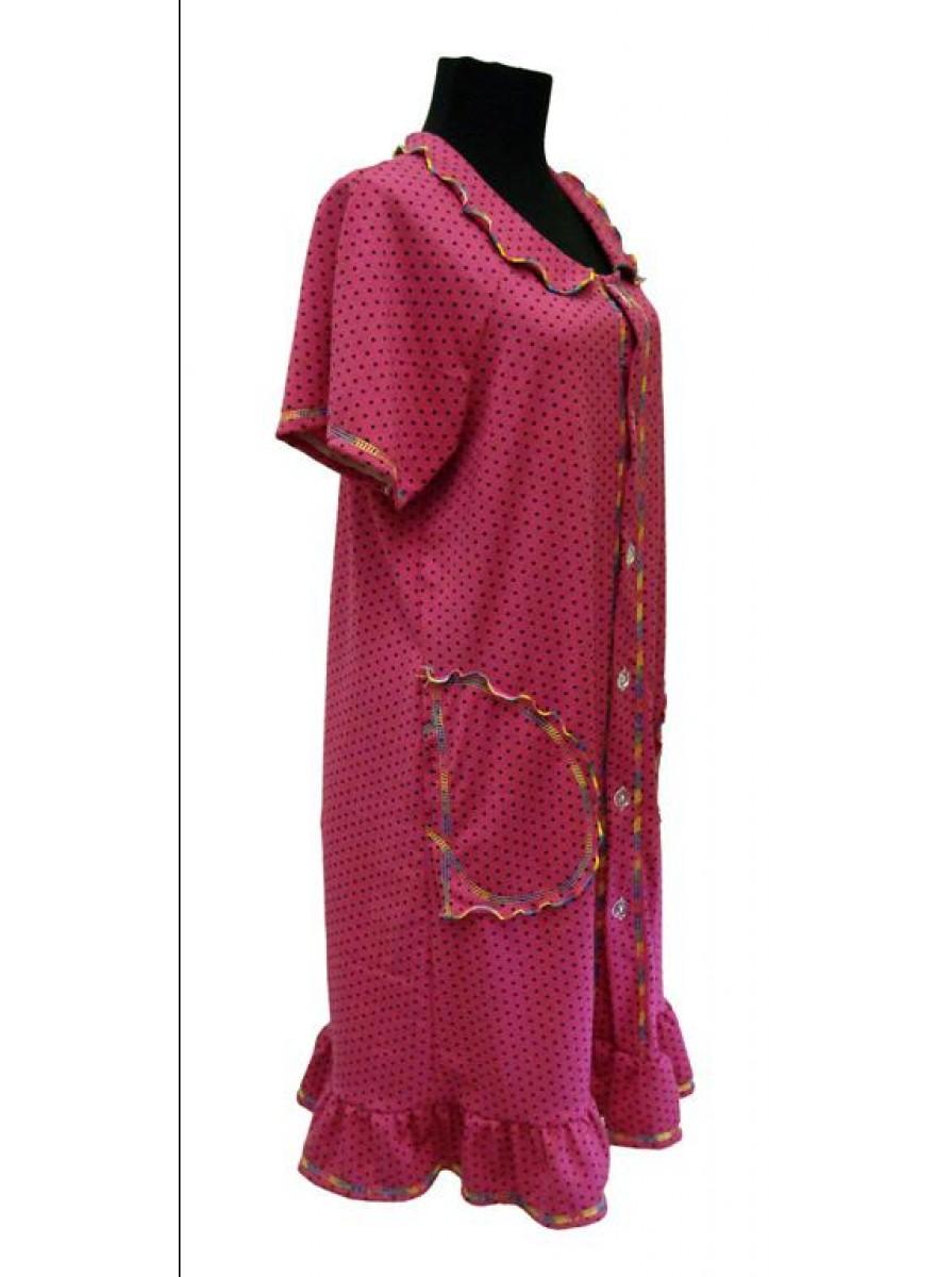 Домашний женский халат с оборкой