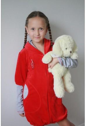 Подростковый велюровый халат на резинке