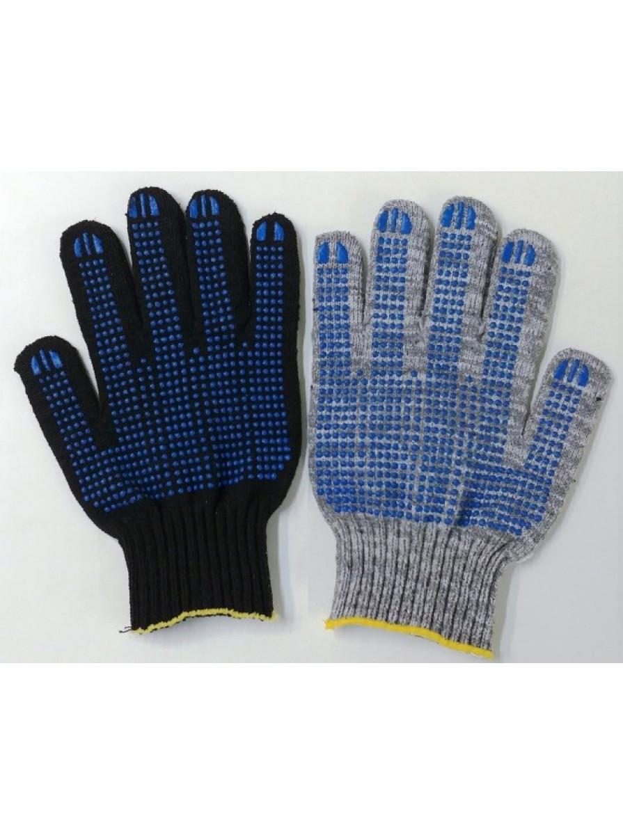 Перчатки 7н 232 текс с ПВХ (Точка) черные