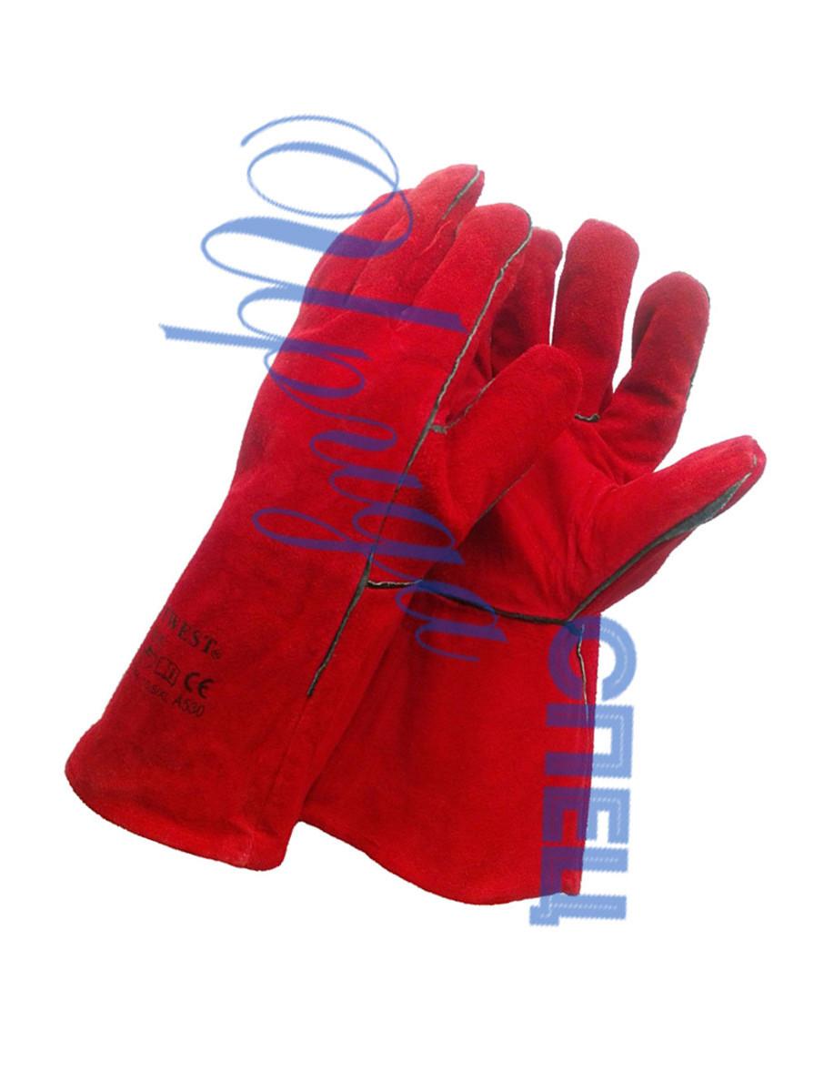 Перчатки (карги) от повышенных температур красные  спилковые Трек Люкс
