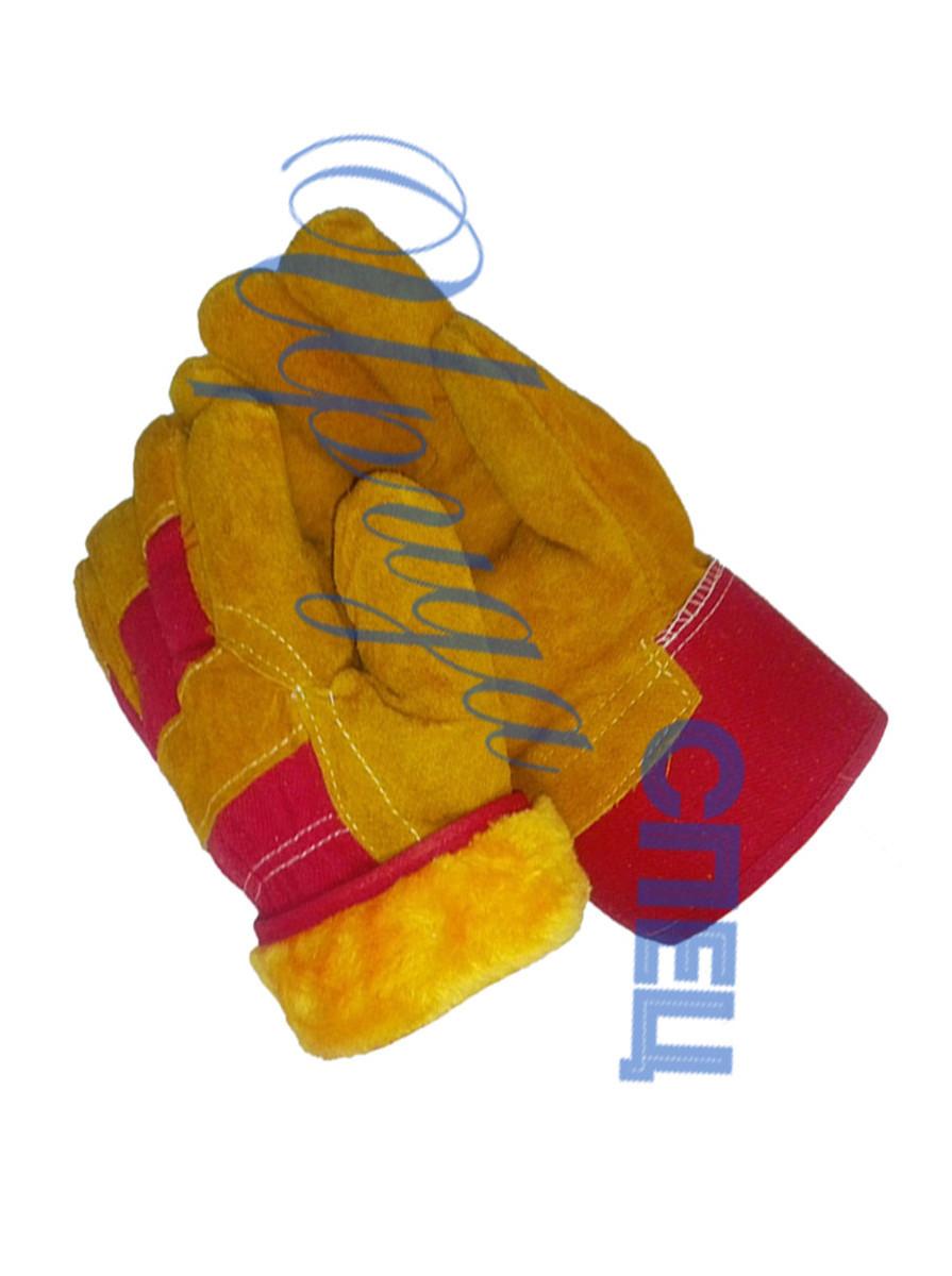 Перчатки спилковые утепленные «Русские львы» искусственный мех