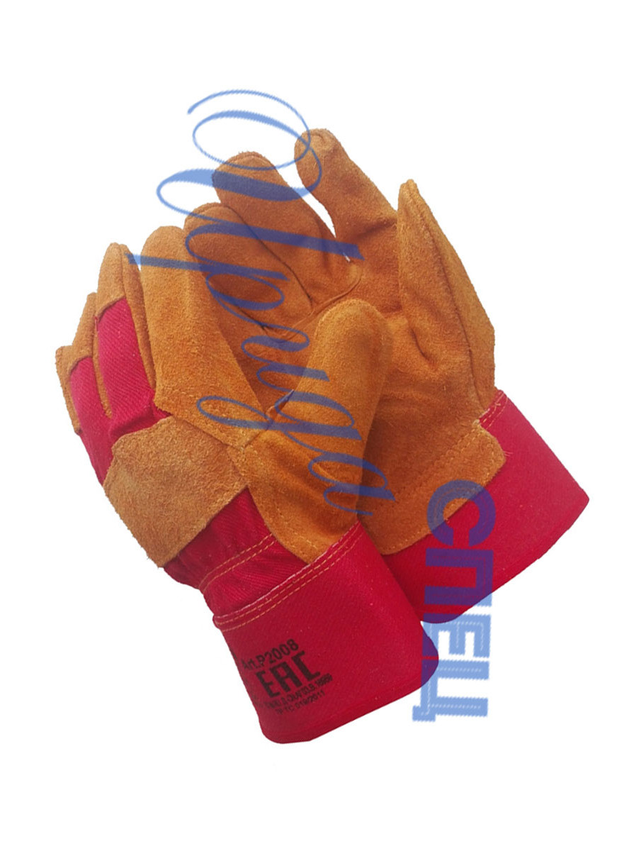 Комбинированные спилковые перчатки от производителя